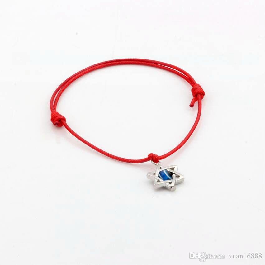 Sıcak ! 50 adet karışık Kabala Hamsa el Yıldız Davut'un Charms Kırmızı renk Mum ipi Ayarlanabilir Bilezikler