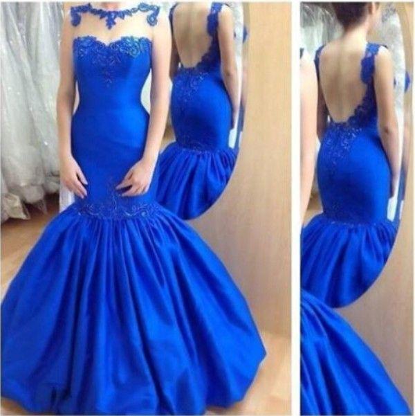 2019 Backless Royal Blue Mermaid Kleider Sexy High Quality Prom Kleider Sheer Bateau Neck Spitze Appliques Stickerei Trompete Abendkleider