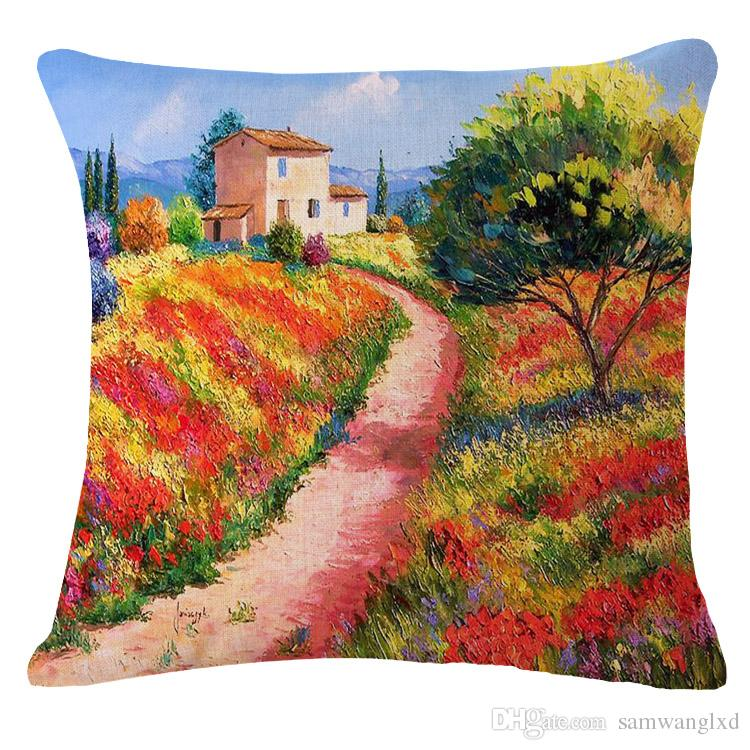 Beautiful Scenic 45*45cm Cotton Linen Cushion Cover Decorative Pillowcases Home Decorative Pillow Cover For Sofa Seat Chair Office