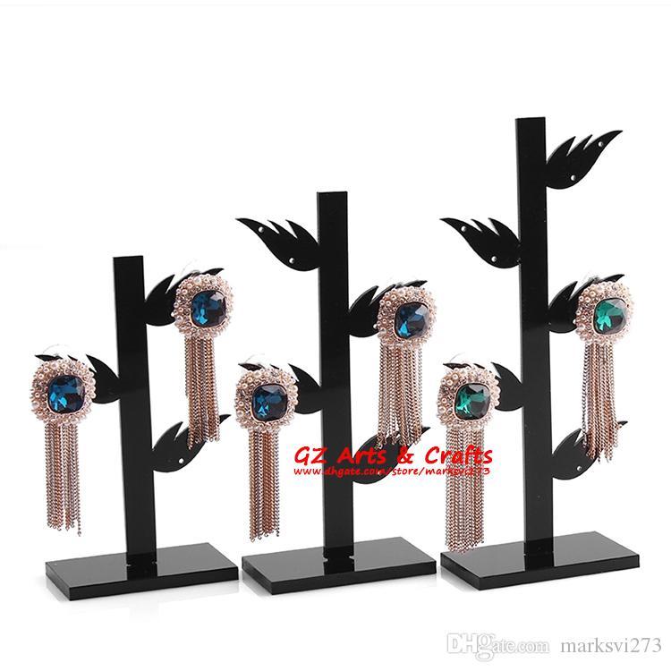 Supporto espositore da tavolo a forma di albero in orecchino nero acylic