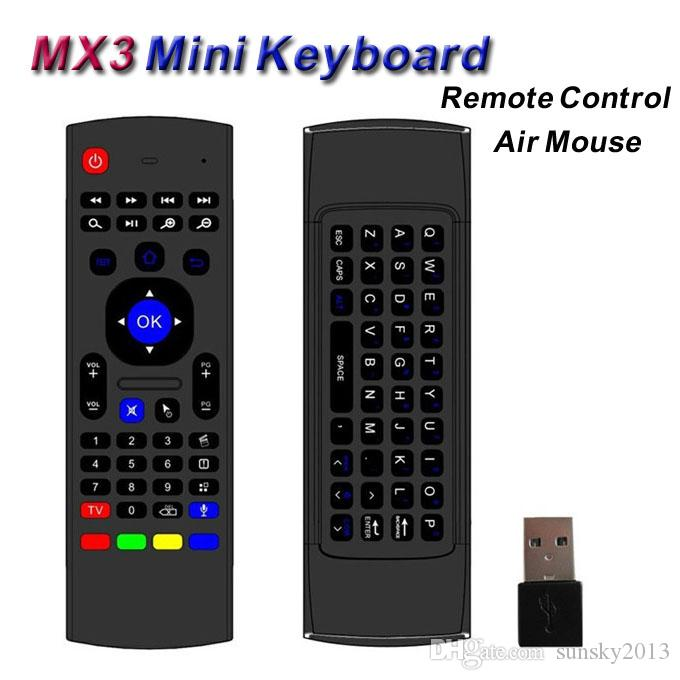 Wireless Mini Keyboard 2 4GHz Remote Control MX3 Somatosensory IR Learning  6 Axis with Mic 3D Fly Air Mouse for Android TV Box PC Tablet