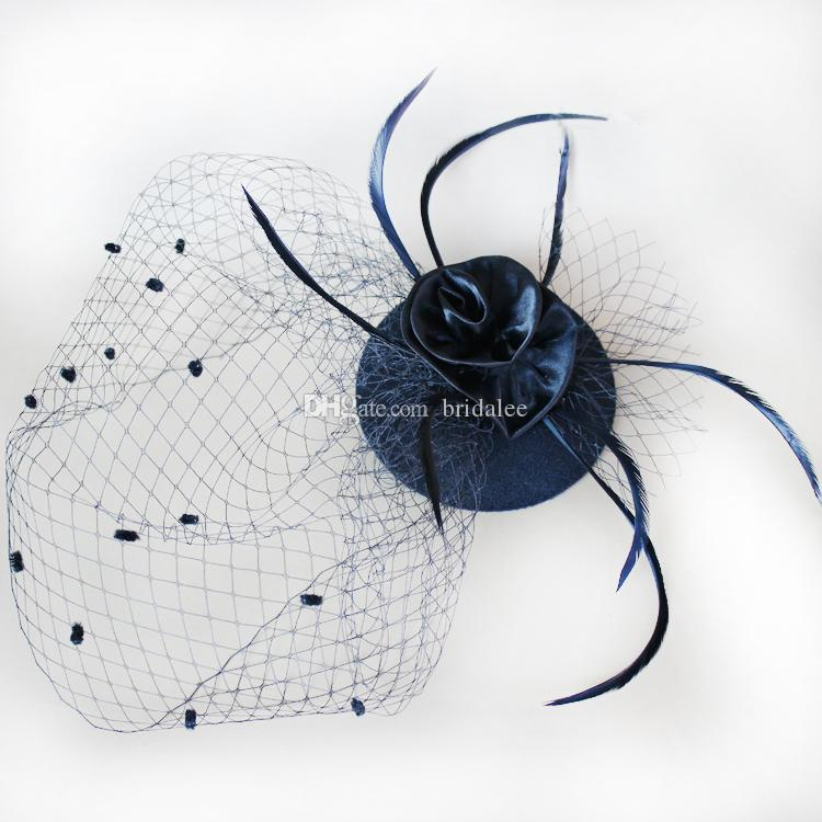 Black White Fashion Hand Made Feather with Net Nice Bridal Flower Party Wedding Fascinator Hats Veil Birdcage Hair Accessories