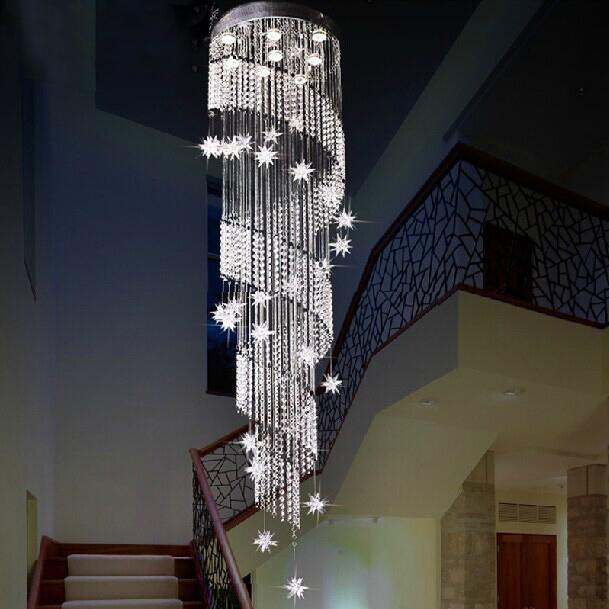 Lighting Basement Washroom Stairs: Modern Design Spiral Crystal Chandelier Lustres Home