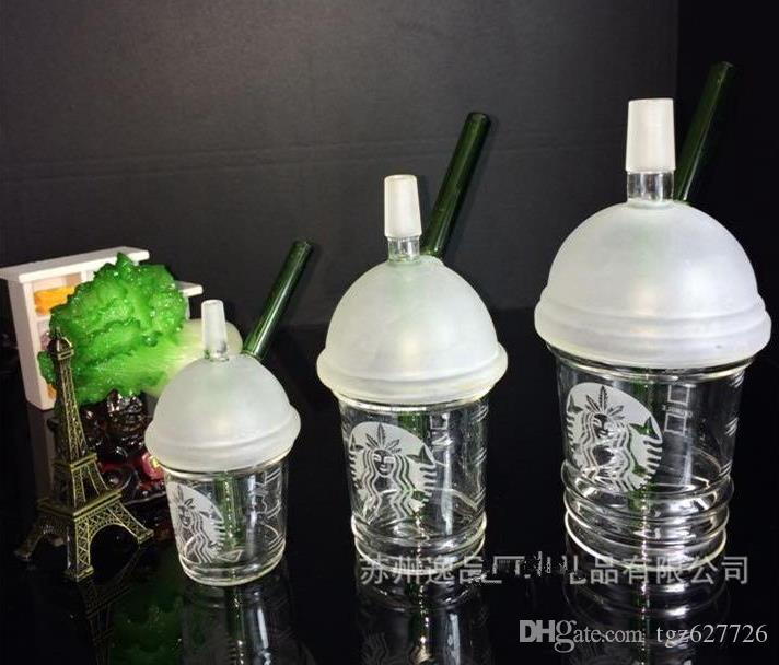 2018 Rushed Phone Cases Sandblasted Starbuck Cup Dab Concentrate Oil Rig Glass Bongs 14.4mm Dome And Nail Smoking Pipes Hookah
