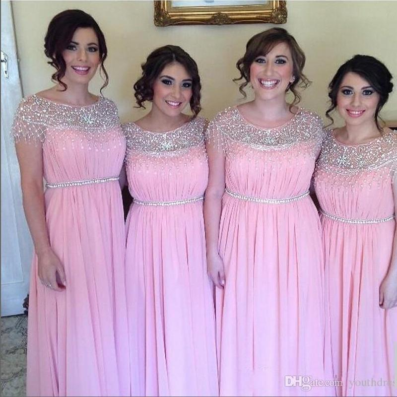 Compre Elegantes Vestidos De Dama De Honor Largos De Cuello ...