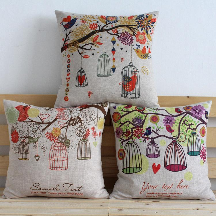 2015 hot small fresh garden tree bird cages car cushion COVER pillow CASE nature picuturs best quality free ship & 2015 Hot Small Fresh Garden Tree Bird Cages Car Cushion Cover ... pillowsntoast.com