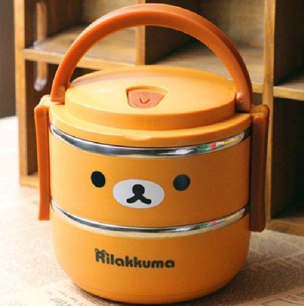 2018 Rilakkuma Bear Lunch Box For Kids Thermos Food