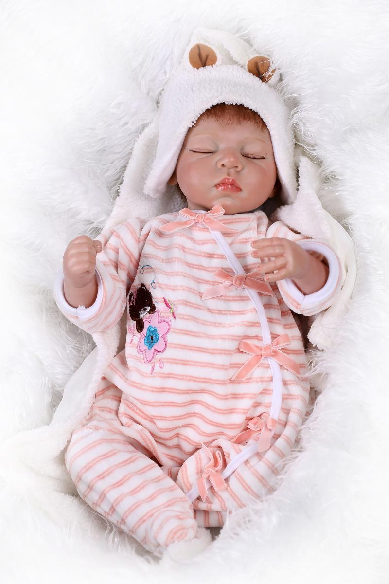 Dolls & Stuffed Toys Have An Inquiring Mind Newborn Doll 22 Inch Reborn Baby Girl Doll Sleepin Lifelike Toddlers Toy Handmade Can Diy High Quality Play House Presents Discounts Sale Dolls