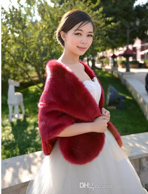 Red Black White Faux Fox Fur Boleros Bridal Wraps Wedding Dress Fur Shawl Jackets Ivory Blue Grey Burgundy Evening Party Dress Cappa Tippet
