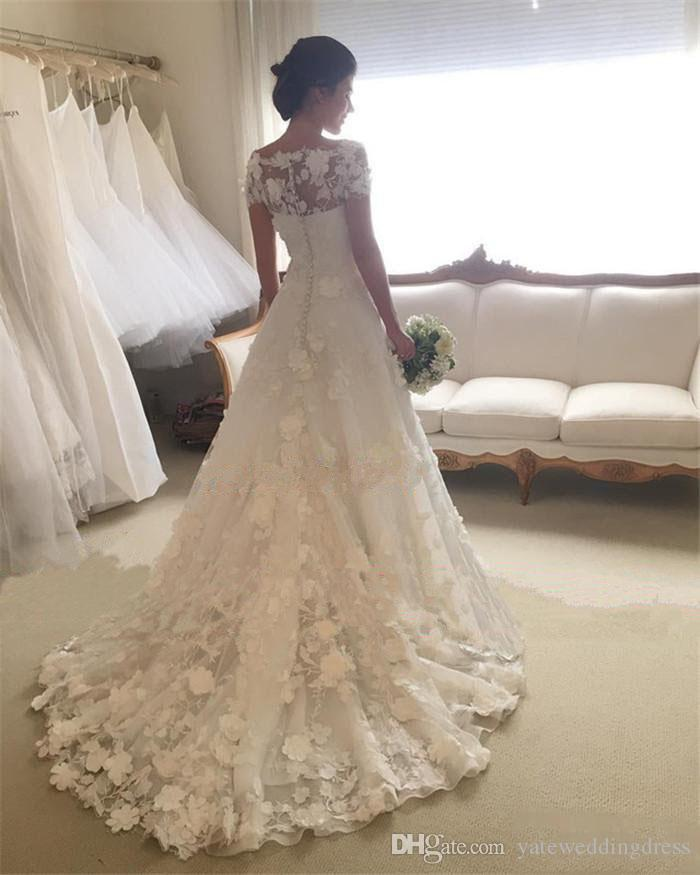 2018 Bateau Wedding Dresses With Lace Applique Back Zipper Short Sleeves Wedding Gowns Sweep Train Custom Made Bridal Gowns Beautiful