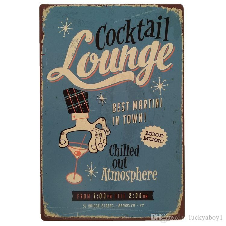 Cocktail Lounge Best Martini in Town Vintage Tin Signs Poster Retro Plaques Bar House Gallery Kitchen Garage Room Wall Decor Painting