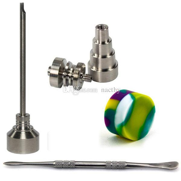 10 mm 14 mm 18 mm ajustable de uñas de titanio conjunto de herramientas de vidrio Bong Domeless GR2 titanio uñas con tapa de carburador Dabber herramienta Slicone tarro Dab contenedor