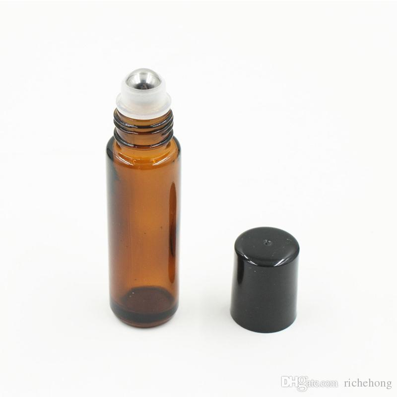 10ml Empty Roll on Amber Glass Bottles [STAINLESS STEEL ROLLER] Refillable Amber Roll On for Aromatherapy,Fragrance Essentia