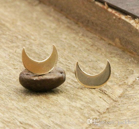 10 par-s020 ouro prata bonito lua crescente brincos simples minúsculo meia lua brincos jóias para as mulheres