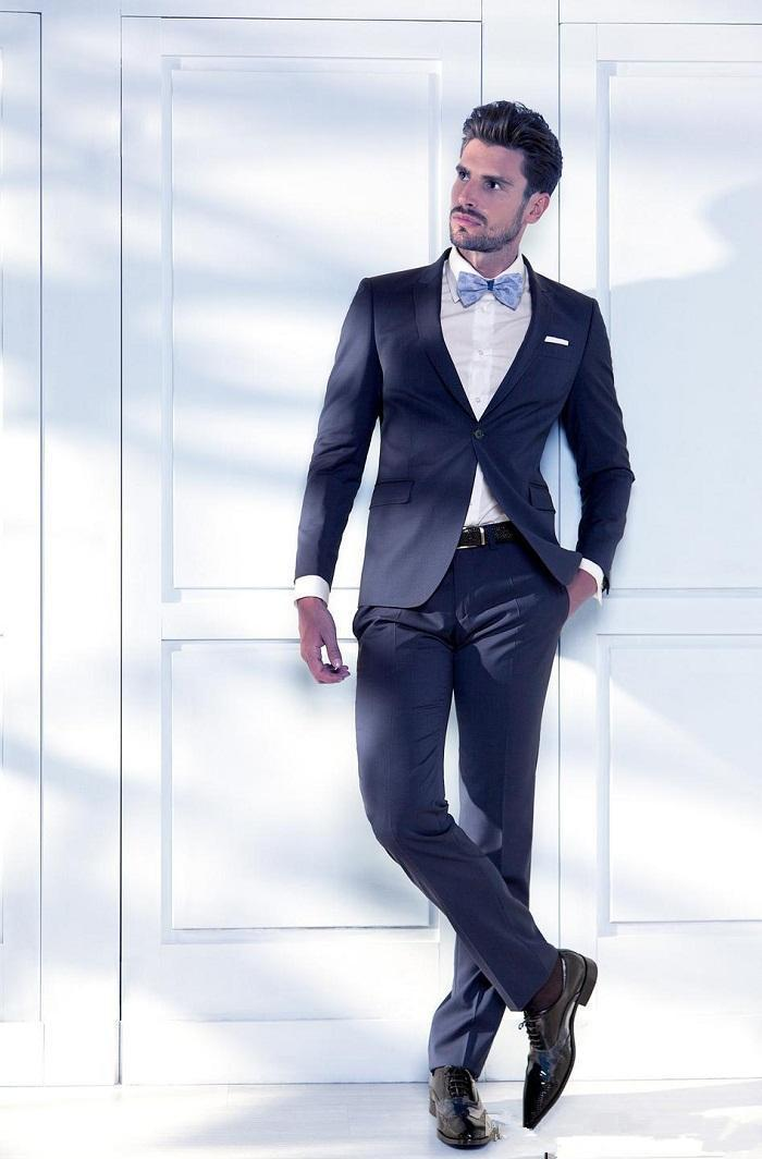 Navy Blue Prom Suit Newest Modern Groom Tuxedos Groomsman Wedding ...