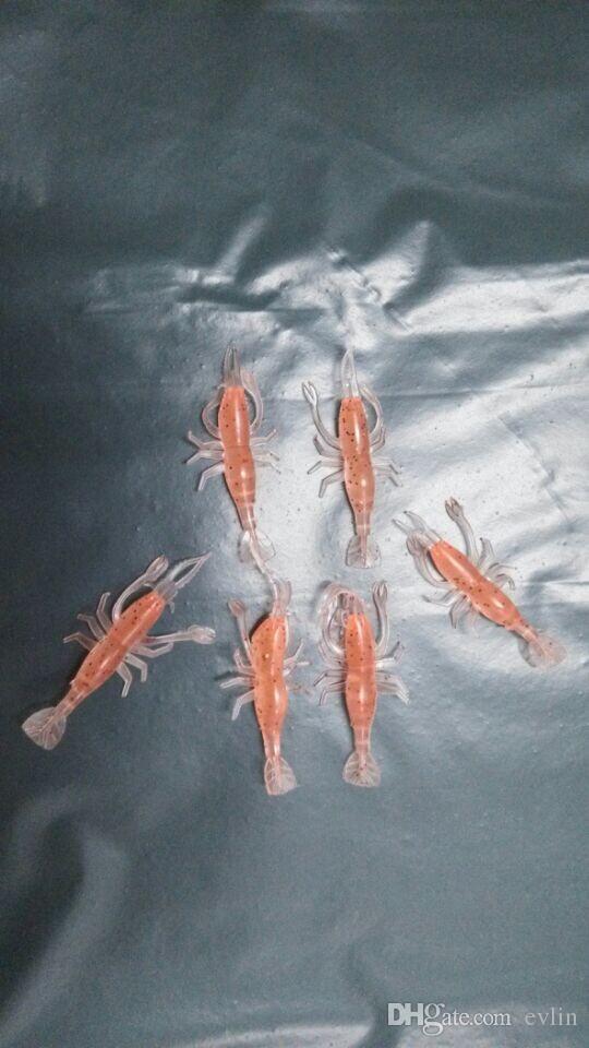 7 cm = 2.8 inç yumuşak cazibesi karides balıkçılık yemler balık takımı plastik ıstakoz yol yem