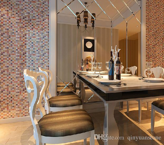 Telhas de parede quadrado telhas de mosaico de vidro Telhas de mosaico de melhoramento da casa telhas de mosaico de parede 300 x 300mm mosaico atacado decoração da parede