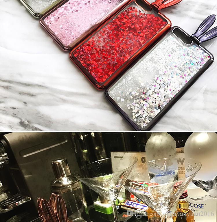 Cute Flare Fashion Quicksand Glitter Rabbit Ears Phone Case For iPhone 6 6S 7 7 8 Plus Luxury Plating Case Cover