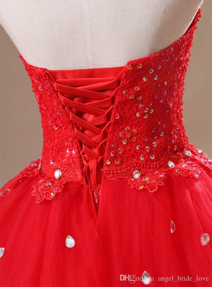 2015 Sexy elegante vestido de baile vermelho quinceanera vestidos com alta Beading apliques vestido de tule para 15 anos Debutante Downs QS151