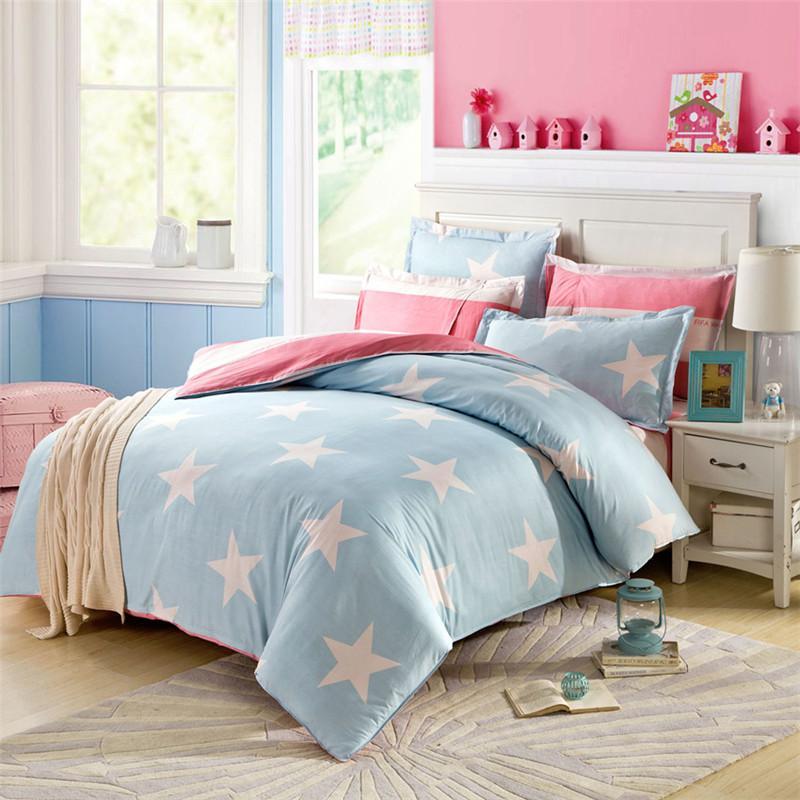 Unique Sale White Stars On Sky Blue Bedding Sets Cotton Queen Size  RY18