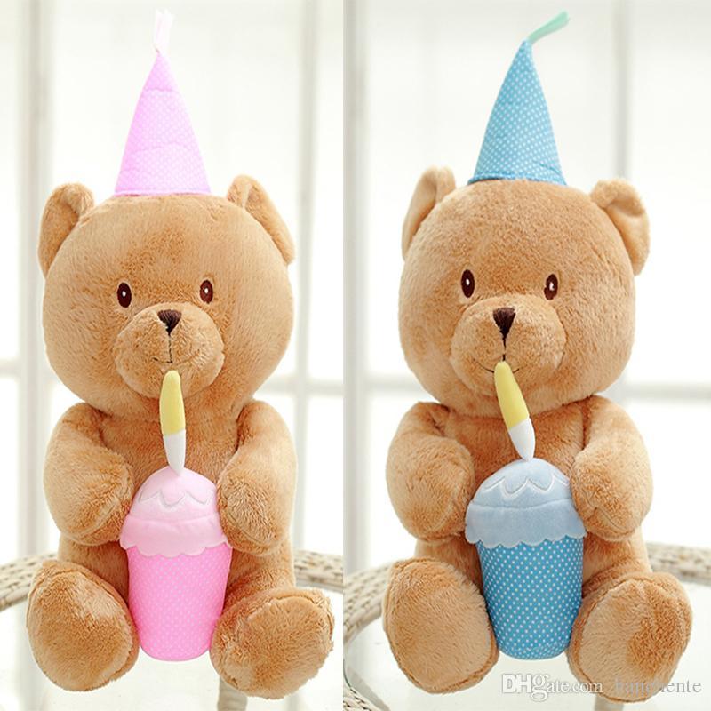 2018 Happy Birthday Plush Teddy Bear Toy Party Birthday Cake Pink