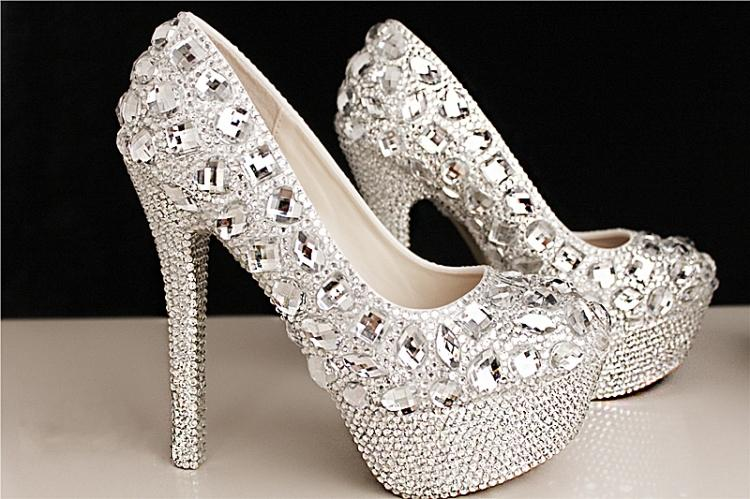 Wedding Heels With Rhinestones: Fashion Luxury Crystals Rhinestone Wedding Shoes Size 12