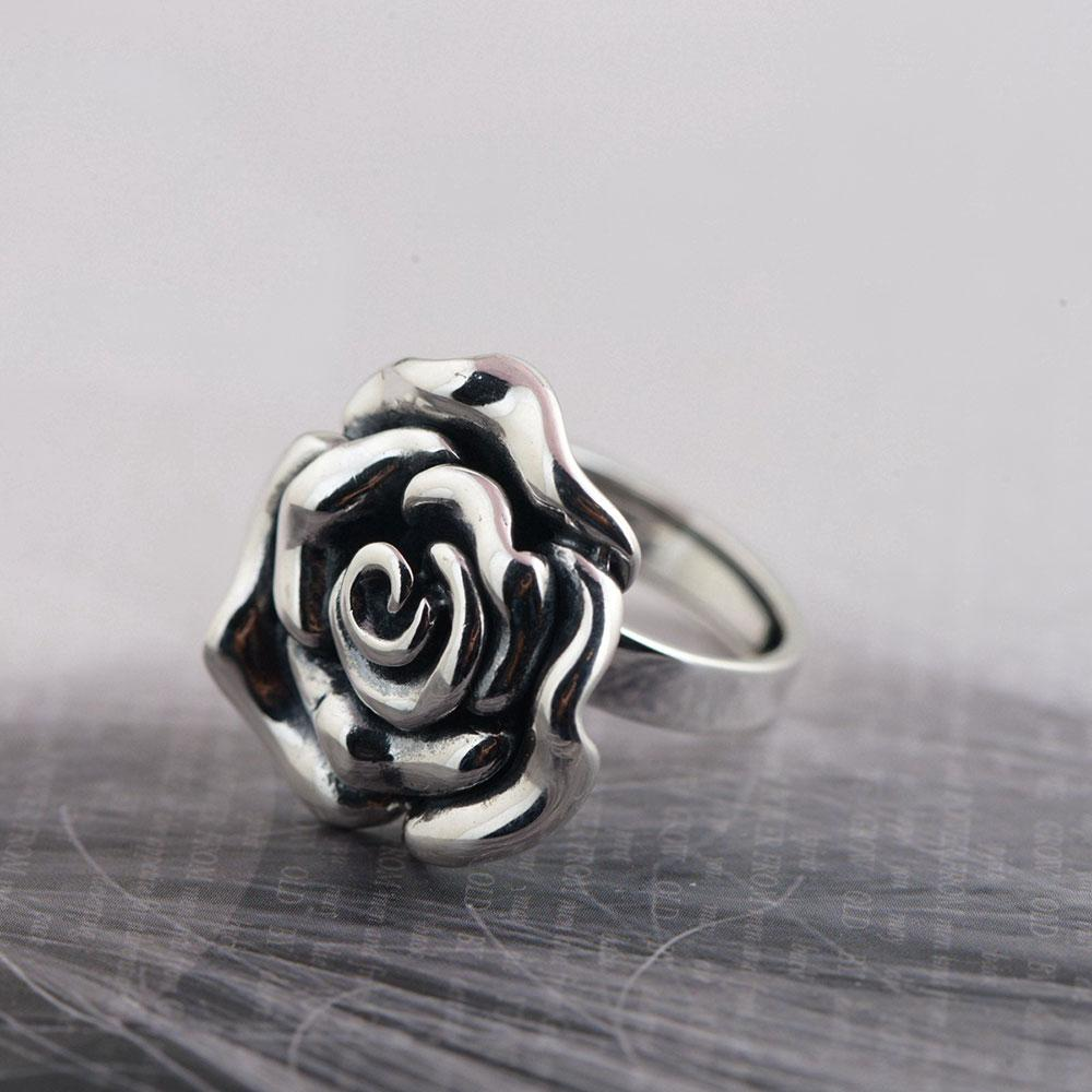 2018 Wholesale 925 Silver Rose Flower Ring 100 Real S925 Sterling Thai Rings For Women Jewelry Girl Adjustable Size From Jerry110 4268