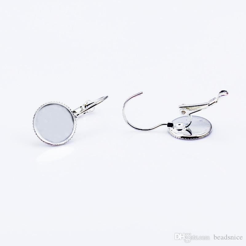 Beadsnice örhängen Blank mässing pläterade örhängen Inställningar Spetskanter Perfekt för Druzys Billiga Kinesiska örhängen Bezel Inställnings ID 8587
