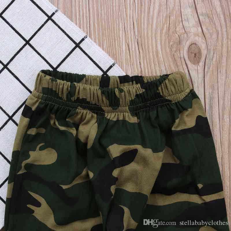 Spring Autumn Kids Clothing Set Camo Raglan Tshirt Pant Baby Boy Clothes T-shirt Pants Clothing Set New Style Hot Sales