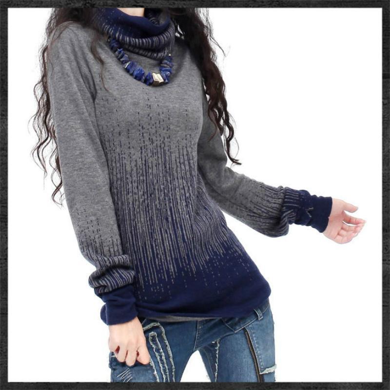 cedd61171d01 Al por mayor-gradiente de las mujeres negro azul Vintage Cashmere Sweater  mujeres cuello alto gruesas suéteres y jerseys femeninos puentes calientes