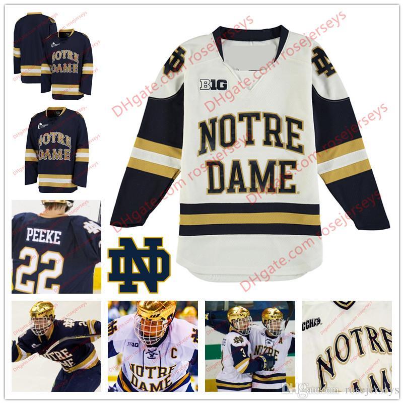 35e050daffb Großhandel Gewohnheit Notre Dame Kämpfende Iren 18 Jake Evans 32 Morris  Oglevie Irgendeine Namenszahl Große Zehn Marine Blau Weiß College Hockey  Nähte ...