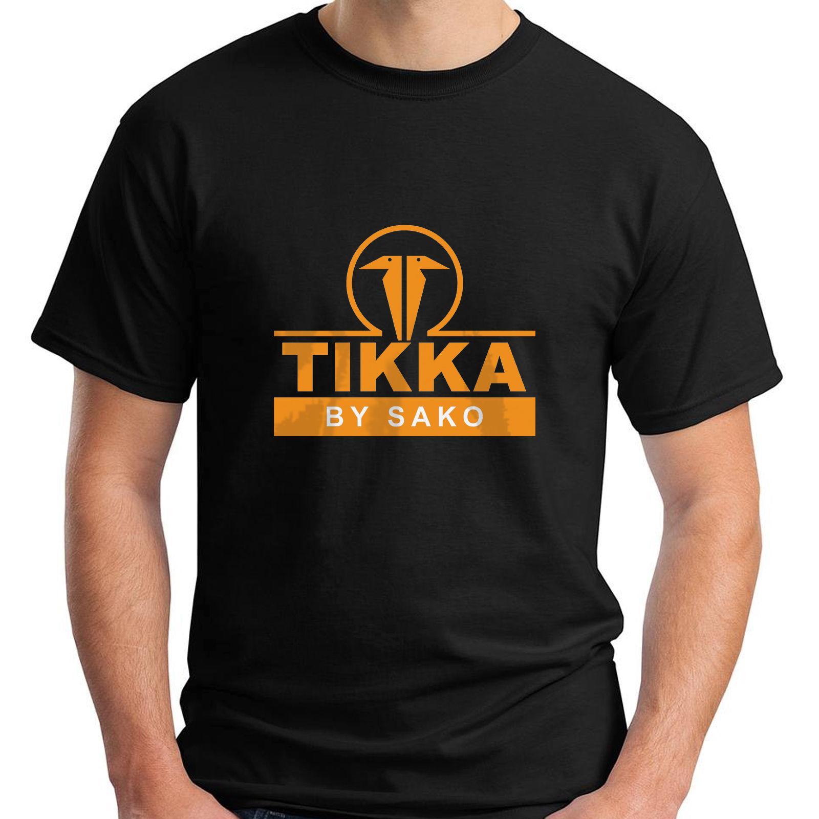 New tikka by sako firearms company logo gun army black men for Shirts with company logo