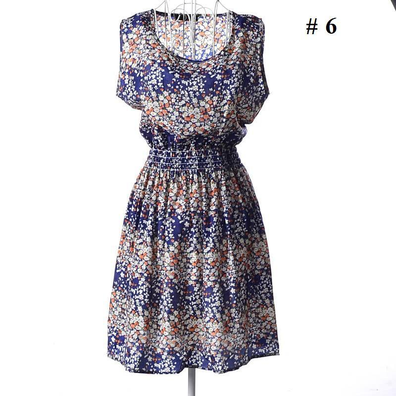 Women Plus Size Printed Sleeveless Chiffon Dresses New Summer Casual Ladies Cheap Cute Dress dk8888bk