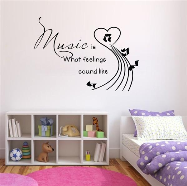 Music Is Vinyl Wall Sticker Quotes Sayings Living Room Wall Decals Art Wall  Stickers Decals 3d Wall Paper Home Decor Sticker Decor For Walls Sticker ... Part 28