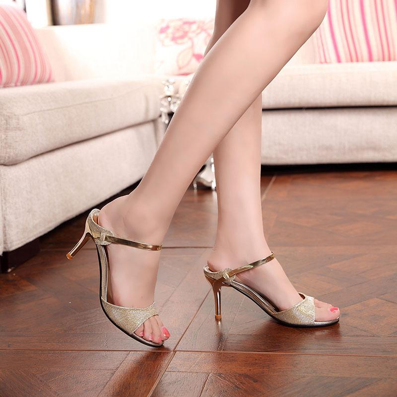 Verschiffen Pumps Silber Plattform Freies Heel Farben High Absatzhöhe Frauen Sandelholz Sommer Damen Schuhe 7cm Gold Sandalen Mode Sexy PXOkZiu