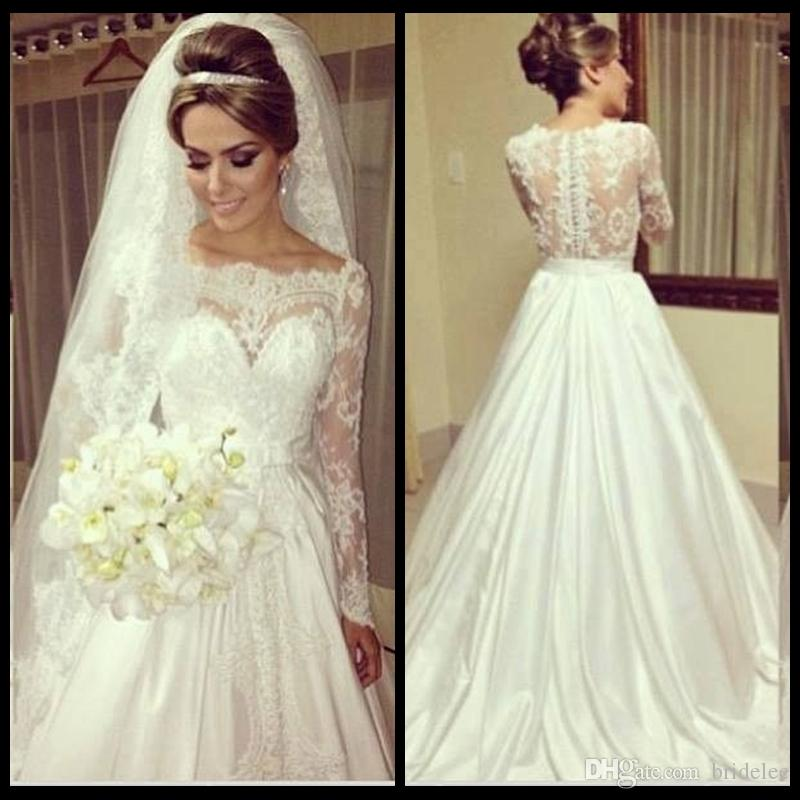 693b5e2f2b7e Vintage Lace Top Scoop Neck Stylish Wedding Dresses A Line Garden Ivory  Satin Skirt Bridal Wedding Gowns With Long Sleeve 2015 New Arrival (Veils  as gift)