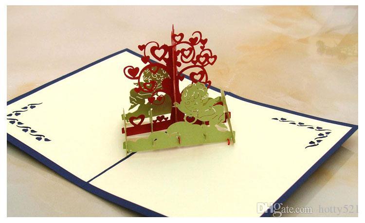 New Wish Tree Design Handmade Creative Kirigami & Origami 3D Pop UP Birthday Greeting Cards