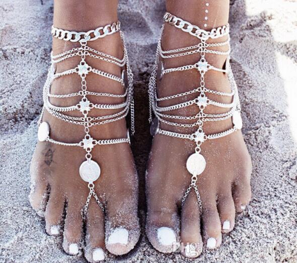 Sandalias descalzas Estiramiento Tobillera Cadena con Toe Ring Esclavo Tobilleras Cadena Arena Boda Nupcial Dama de honor Pie Bohemia Playa Fiesta Joyería