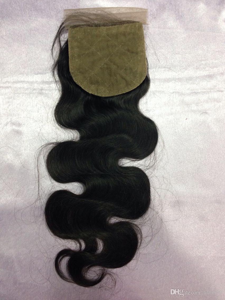 8A Body Wave cabello humano 4x4 cierre de seda nudo blanqueado libre 3 partes de seda Base cierre de seda cierre de encaje superior
