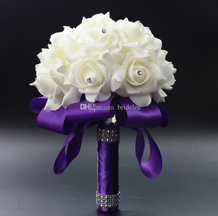 2020 Elegante Rosa Artificial Nupcial Flores Noiva Buquê Buquê de Casamento Cristal Royal Azul Silk Fita Novo Buque de Noiva 10 Cores
