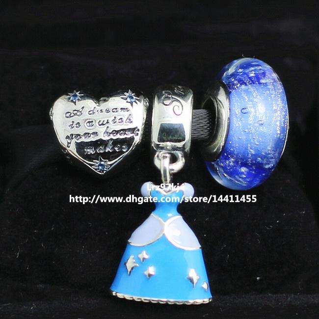 European Pandora Style Jewelry Charm Bracelets 2015 New 925 Sterling Silver Charms and Murano Glass Bead Set - Cinderella Gift Sets