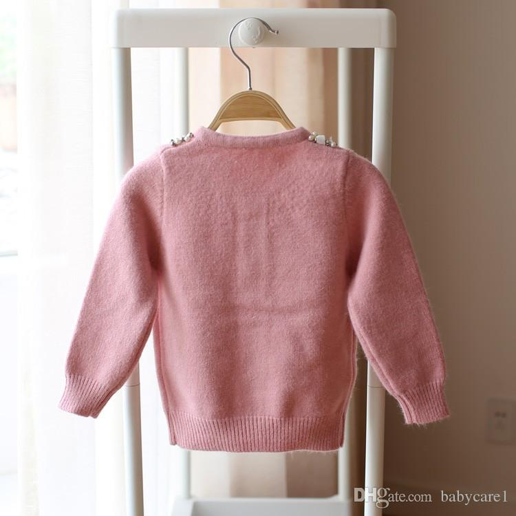 Retail New Hot Children Clothing Kids Sweater Knitted Sweater Girls Sweater Beading Neck 2016 Autumn Winter Kids Cardigan