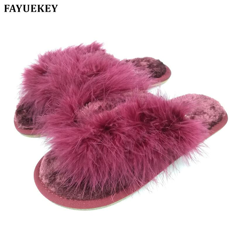 FAYUEKEY Sweet Spring Summer Autumn Winter Home Fashion Plush Slippers Women Indoor\ Floor Flip Flops For Girls Gift Flat Shoes
