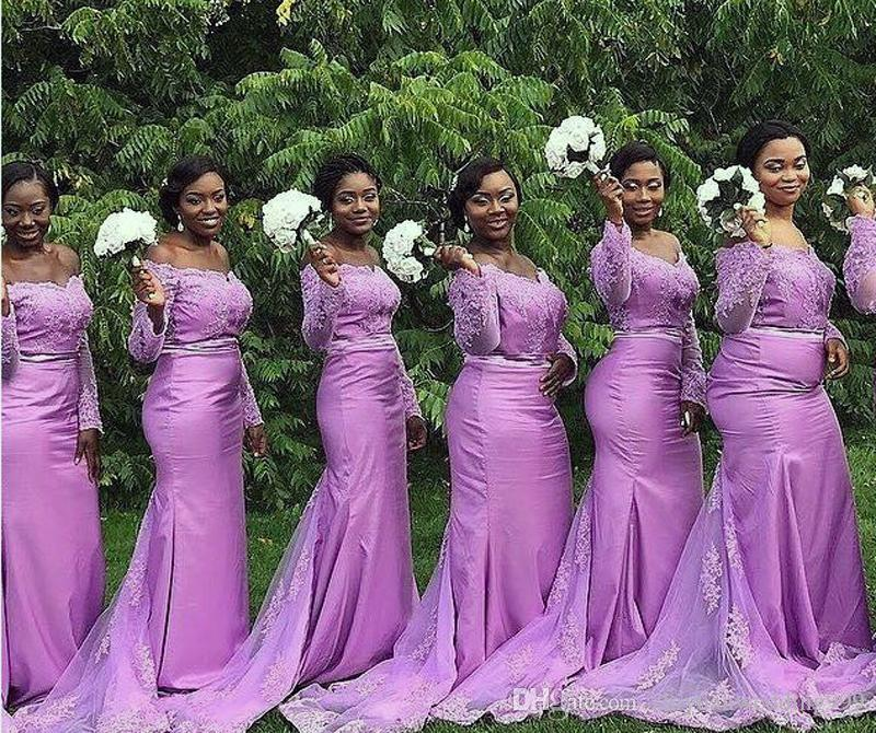 Long Sleeves Purple African Bridesmaid Dresses Satin With Lace ...