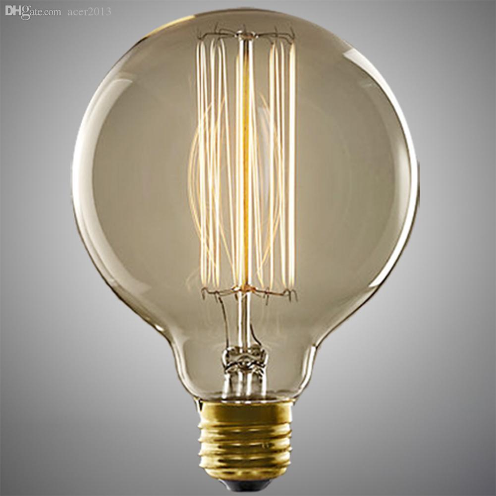 best wholesale 40w e27 lamp holder round edison bulb lamp fixture vintage retro light bulb for decorations chandeliers ceiling lamp zyd30c led downlight - Vintage Light Bulbs