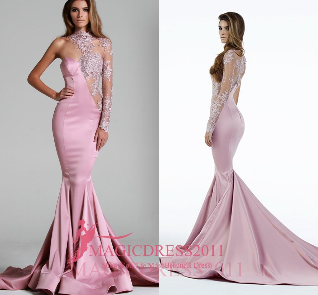 Pink Evening Dresses Illusion Formal Prom Gowns Water Collection 2019 Special Occasion Dress Mermaid One-Shoulder Crystal Celebrity Arabic