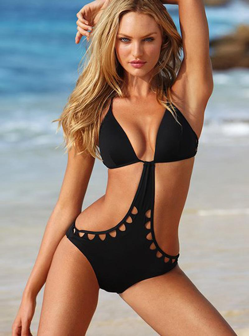 2018 Sexy Hollow Out Black Bikini Swimwear Women One ...