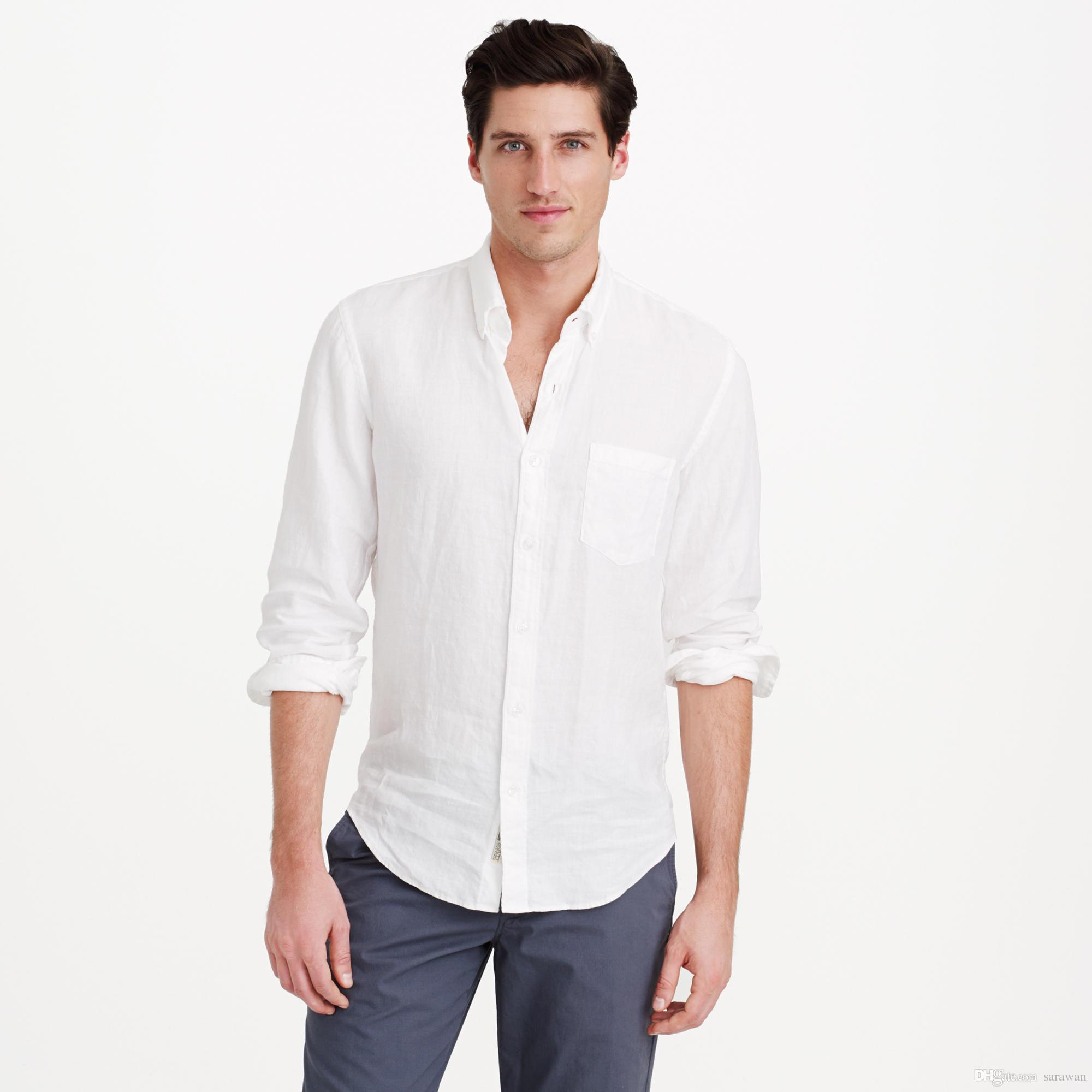 2018 White Linen Shirts Men Linen Shirt Tailor MadeCustom Mens White Linen Shirts For Men Slim ...
