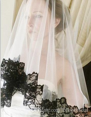 Hot Sale One Layer Tulle Wedding Bridal Veils With Black Lace Edge Sheer White Bridal Accessories Blush Veils