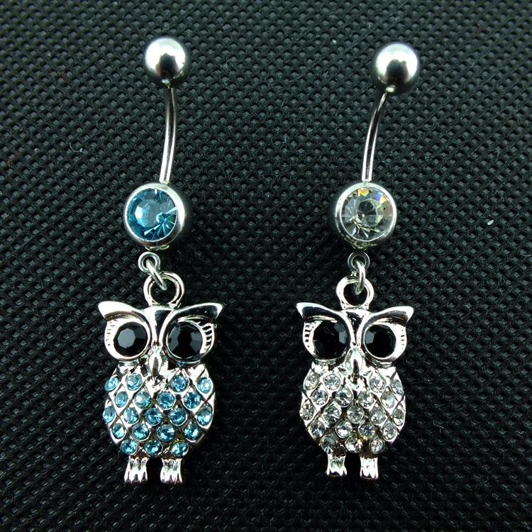 Fashion Belly Button Rings 316L Stainless Steel Barbell Dangle Two Color Rhinestone Owl Navel Piercing Jewelry